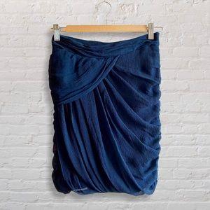 Club Monaco 100% Silk Tulip Mini Skirt in Navy